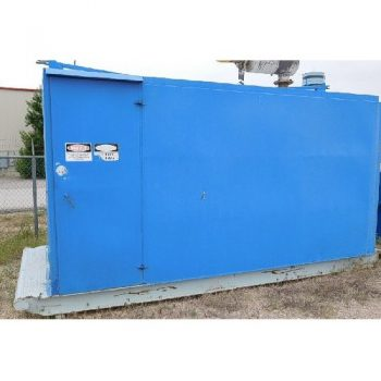 GENSET, CAT- 3406A Diesel Eng, S/N-904035 87, CAT 240KW Gen Set w/ radiator, gauges, controls, air volume tank, all mtd in 7'x15′ round top building, skidded