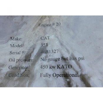 GENSET, CAT 353, S/N- 46B 1327 w/KATO 450KW Generator (Fully Operational)