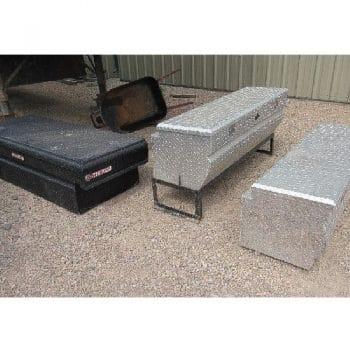 """(3) Crossbody Truck Toolboxes: (2) PROMAX 20""""W x 60″L x 18″H Steel (1} WEATHERGUARD 27″W x 70.5″L x 18″H Aluminum"""