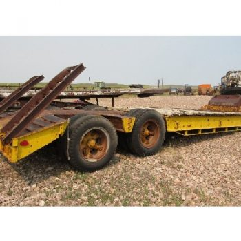 1966 Equipment Transport 8'W 25'L T/A Trailer w/Fold Up  Ramps & Reverse Fifth Wheel Plate, VIN-IA11195. 9R22.5 Tires